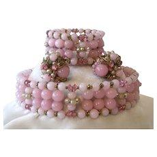 Miriam Haskell Pink Glass & Pearls Choker Earrings & Bracelet Parure Set