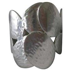 Beautiful Hammered Silver Modernistic Wrap Cuff Bracelet