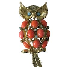 Pauline Rader Coral Turquoise & Rhinestones Vintage Owl Pin Brooch