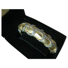 KJL Beautiful Gold & Rhinestones Cuff Bangle Bracelet Kenneth Lane