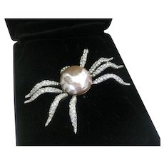 Carolee Stunning pearl and rhinestones Spider Pin Brooch Limited Edition