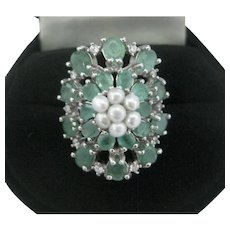 Emeralds & Pearls White Gold Plated 925 Sterling Silver Ring 6