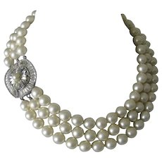 Kenneth Lane Stunning Glass Pearls & Baguettes Vintage Necklace