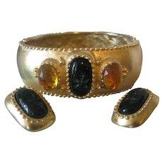 Beautiful Vintage Cuff Bracelet & Earrings Set