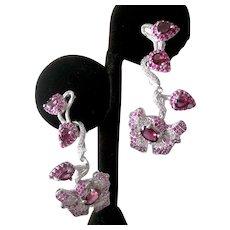 Rhodolite Garnets &  CZs In 925 Sterling Silver Flower Earrings