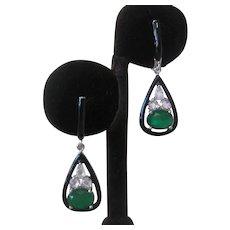 Green Doublet Emerald & Sparkling CZs 925 Sterling Silver & Enamel Earrings