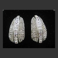 Stunning 1980s Rhinestones Covered Designer Earrings