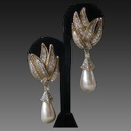 Stunning Vintage Rhinestones & Glass Pearl Drops Earrings