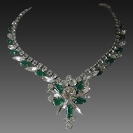 JULIANA Green Glass & Clear Ice Stones Necklace