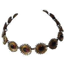 Two Tone Gold Tone & Red Glass Stones Heavy Vintage Necklace