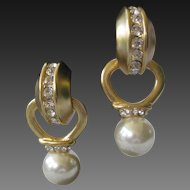 Removable Pearl Drop & Rhinestones Vintage Earrings