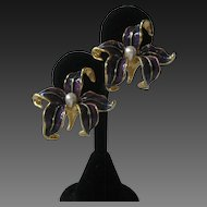 Kenneth Lane Pearl & Enamel Lily Earrings
