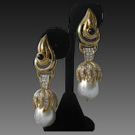 CRAFT Beautiful Pearls & Rhinestones Long Vintage Earrings