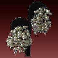 MARVELLA Dangling Pearls & Rhinestones Vintage Earrings