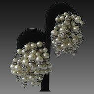 MARVELLA Dangling Pearls & Rhinestones Vintage Earrings
