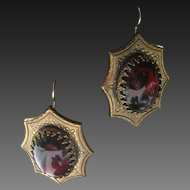 Garnet Glass & Brass Vintage Earrings