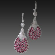 Gorgeous Raspberry Rhodolite Garnet, Clear CZ Dangling Earrings