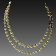 CINER Beautiful Glass Pearls & Rhinestones Double Strand Necklace