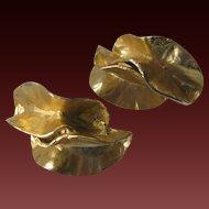 Fabulous Unique Vintage Gold Tone Crumped Earrings