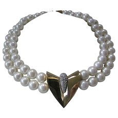 GIVENCHY Signed And Dated 1977 Glass Pearls & Rhinestones Necklace