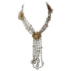 JAY FEINBERG Long Vintage Pearls Huge flowers Necklace