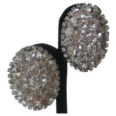 Rhinestone Covered Large Oval Vintage Earrings