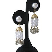 Pearls & Rhinestone Balls Dangling Vintage Earrings