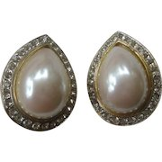 Beautiful Vintage Large Pearl & Rhinestones Earrings