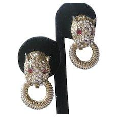 Vintage Rhinestones Panther Heads & Rings Earrings Unsigned Kenneth Lane