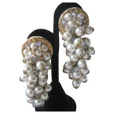 Vintage 1950s Dangling Glass Pearls Waterfall Earrings