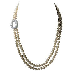 EISENBERG Ice Double Strand Glass Pearls With Rhinestones Vintage Necklace