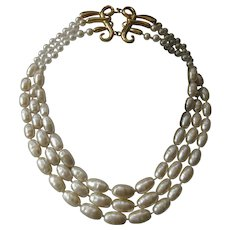 KARL LAGERFELD Very Heavy & Rich Glass Baroque Style Large Pearls Vintage Necklace