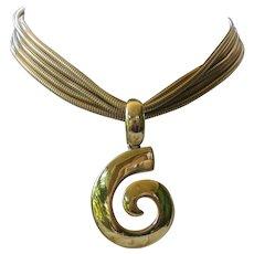 GIVENCHY Vintage Beautiful Gold Tone Logo Necklace