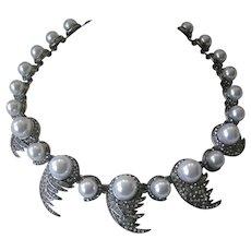 OSCAR DE LA RENTA Stunning Rhinestones & Pearls Large Necklace