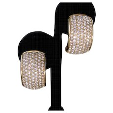 CHR. DIOR Brilliant Rhinestone covered Vintage Earrings