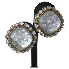 DOMINIQUE AURIENTIS Paris Large Glass & Gold Stunning Earrings