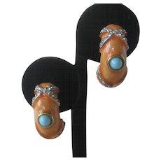 K.J.L Early Kenneth Lane Coral Enamel & Rhinestones Earrings