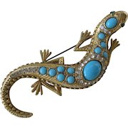 Beautiful Ornate Vintage Large Turquoise & rhinestones Lizard Pin Brooch