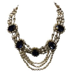 Miriam Haskell Stunning Early Billowing Pearls & Sapphire Glass Necklace