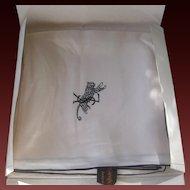 YSL Beautiful 1960s Vintage Ivory & Black Silk Scarf In Orignal Package