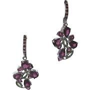 Beautiful Garnets & Green Gemstones Set In 925 Sterling Silver Earrings