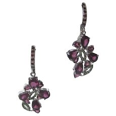 Beautiful Garnets & Green Gemstones Set In 925 Sterling Silver Earrings