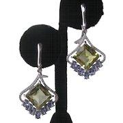 Lemon Quartz & Tanzanite Gemstones In 925 Sterling Silver Earrings