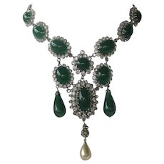 AUSTRIA Gorgeous Large Green Glass & Rhinestones Vintage Bib Necklace