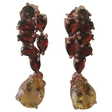 Garnets Smoky Topaz & Citrine Drop Gemstones In 925 Sterling Silver With Rose Gold Plate Earrings
