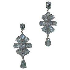 Genuine Baby Blue Topaz Open Back Stones Set In 925 Sterling Silver Earrings