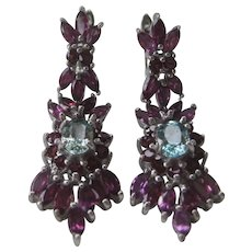 Genuine Garnets & Light Blue Zircon In 925 Sterling Silver Earrings