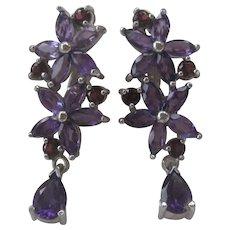 Genuine Purple Amethyst & Garnet Stones Hanging Earrings 925 Sterling Silver