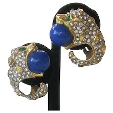 K.J.L. Early 1960s Animal Head Rhinestones & Blue Stones Earrings