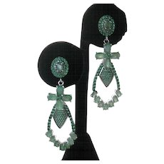 Beautiful Genuine Emeralds In Sterling Silver Earrings